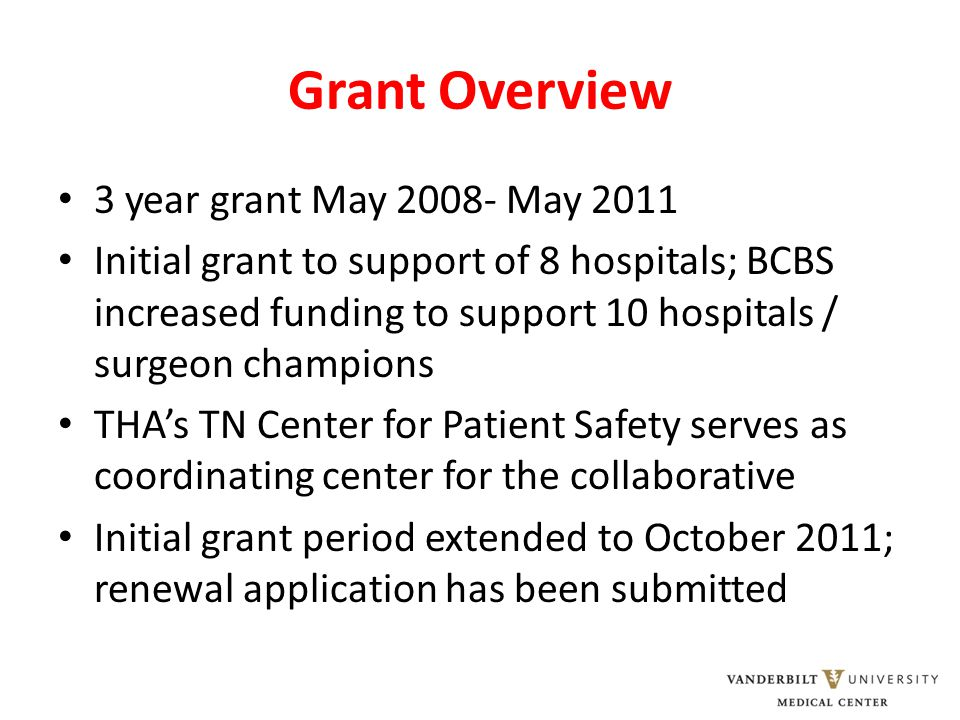 Grant Overview 3 year grant May 2008- May 2011 Initial grant to support of 8 hospitals; BCBS increased funding to support 10 hospitals / surgeon champions THA's TN Center for Patient Safety serves as coordinating center for the collaborative Initial grant period extended to October 2011; renewal application has been submitted