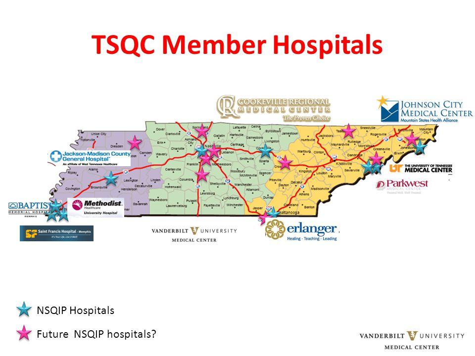 TSQC Member Hospitals Future NSQIP hospitals NSQIP Hospitals