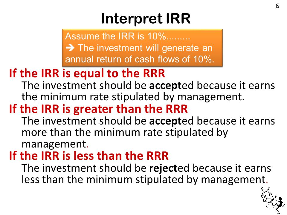 Interpret IRR If the IRR is equal to the RRR The investment should be accepted because it earns the minimum rate stipulated by management. If the IRR