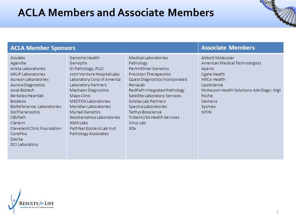 ACLA Members and Associate Members ACLA Member Sponsors Associate Members Aculabs Agendia Arista Laboratories ARUP Laboratories Aureon Laboratories Au