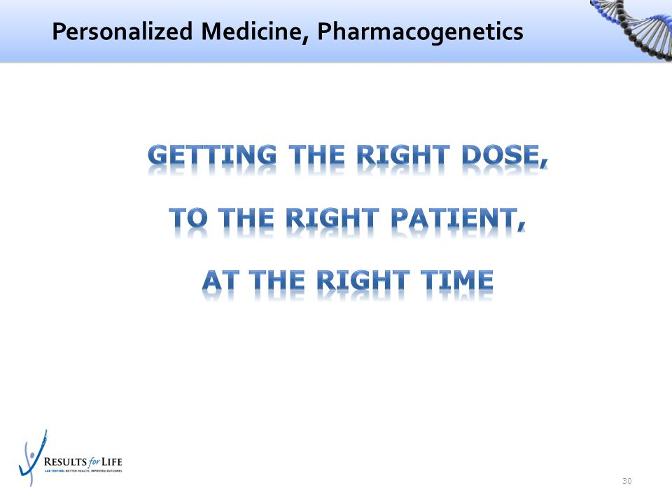 Personalized Medicine, Pharmacogenetics 30