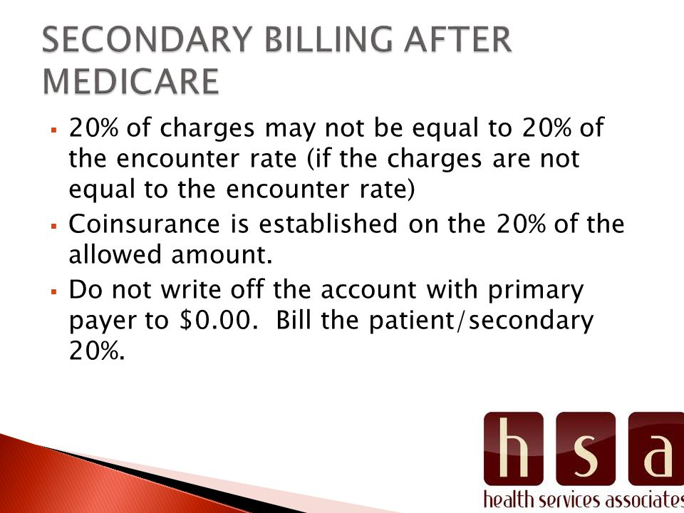  20% of charges may not be equal to 20% of the encounter rate (if the charges are not equal to the encounter rate)  Coinsurance is established on the 20% of the allowed amount.