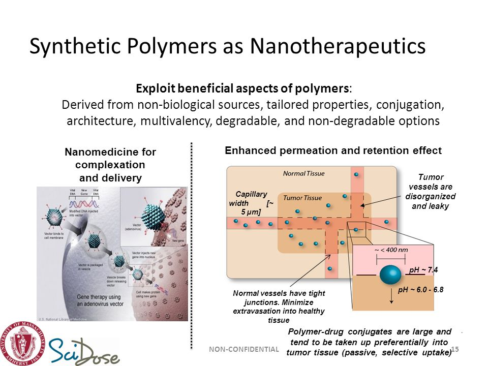 Synthetic Polymers as Nanotherapeutics Exploit beneficial aspects of polymers: Derived from non-biological sources, tailored properties, conjugation,