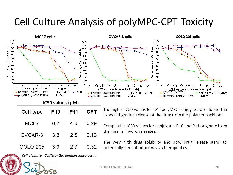 Cell Culture Analysis of polyMPC-CPT Toxicity NON-CONFIDENTIAL20 MCF7 cells OVCAR-3 cellsCOLO 205 cells polyMPC-graft-CPT P11 polyMPC-graft-CPT P10 po