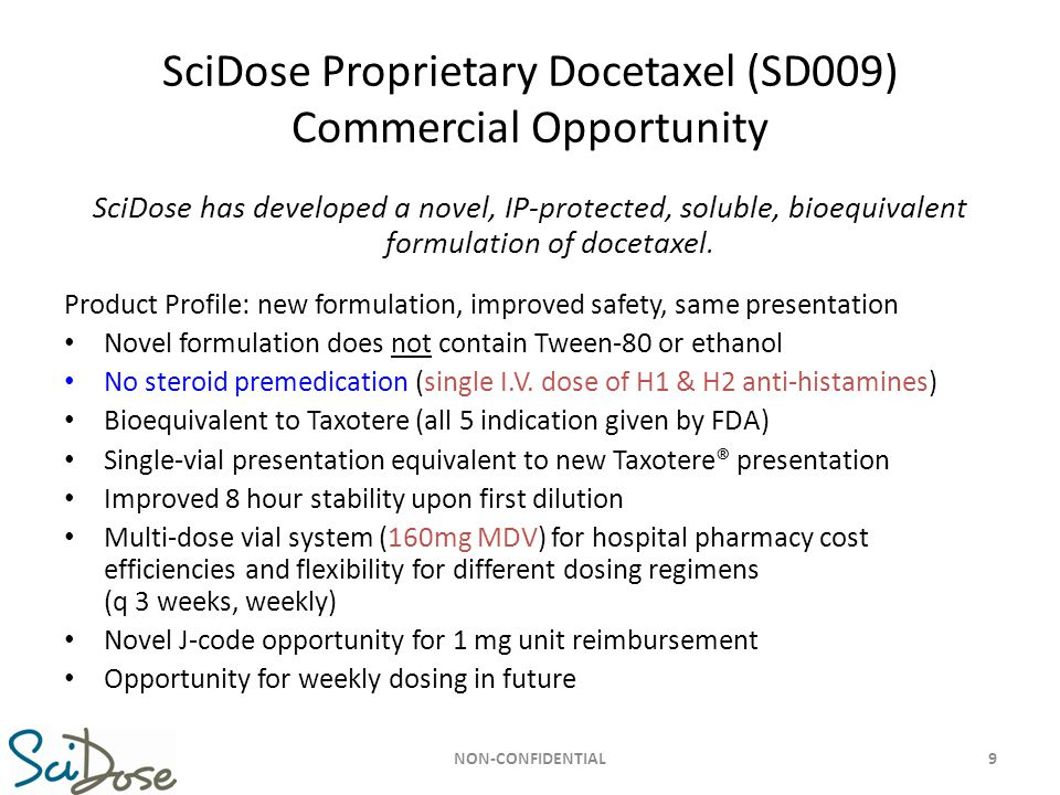 SciDose Proprietary Docetaxel (SD009) Commercial Opportunity SciDose has developed a novel, IP-protected, soluble, bioequivalent formulation of doceta