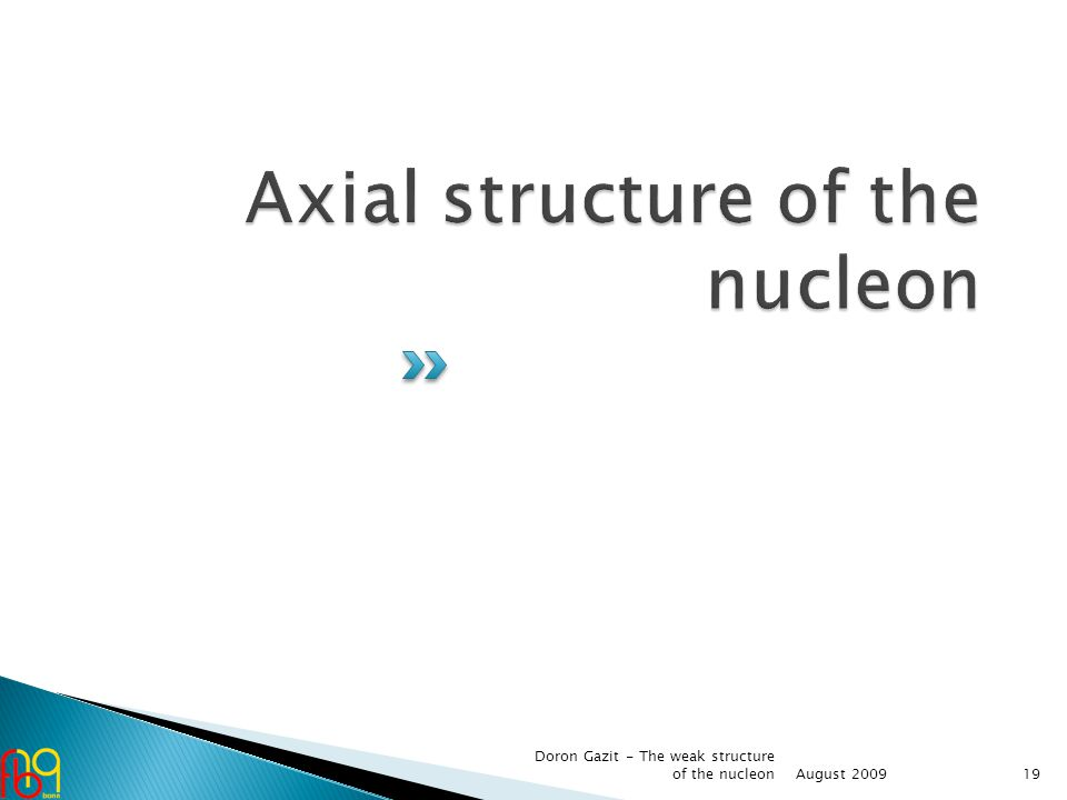 August 2009 Doron Gazit - The weak structure of the nucleon19