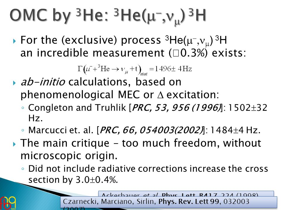 For the (exclusive) process 3 He(     ) 3 H an incredible measurement (  0.3%) exists:  ab-initio calculations, based on phenomenological MEC or  excitation: ◦ Congleton and Truhlik [PRC, 53, 956 (1996)]: 1502  32 Hz.