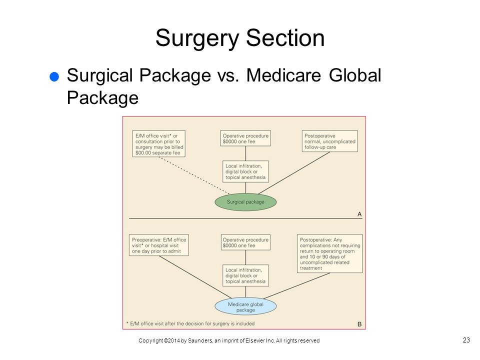 Copyright ©2014 by Saunders, an imprint of Elsevier Inc. All rights reserved Surgery Section  Surgical Package vs. Medicare Global Package 23