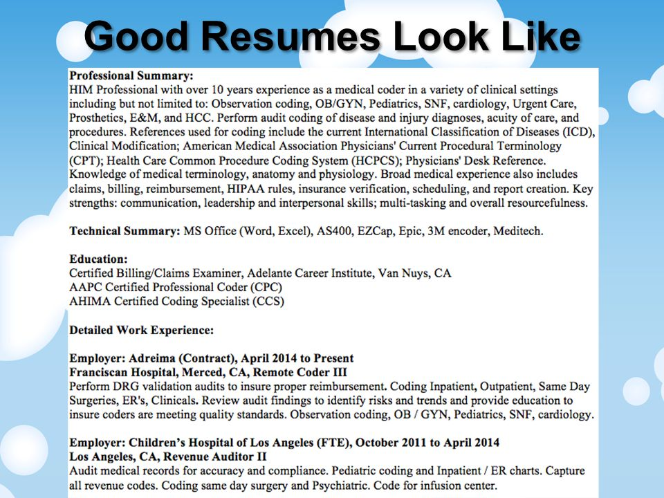 Good Resumes Look Like