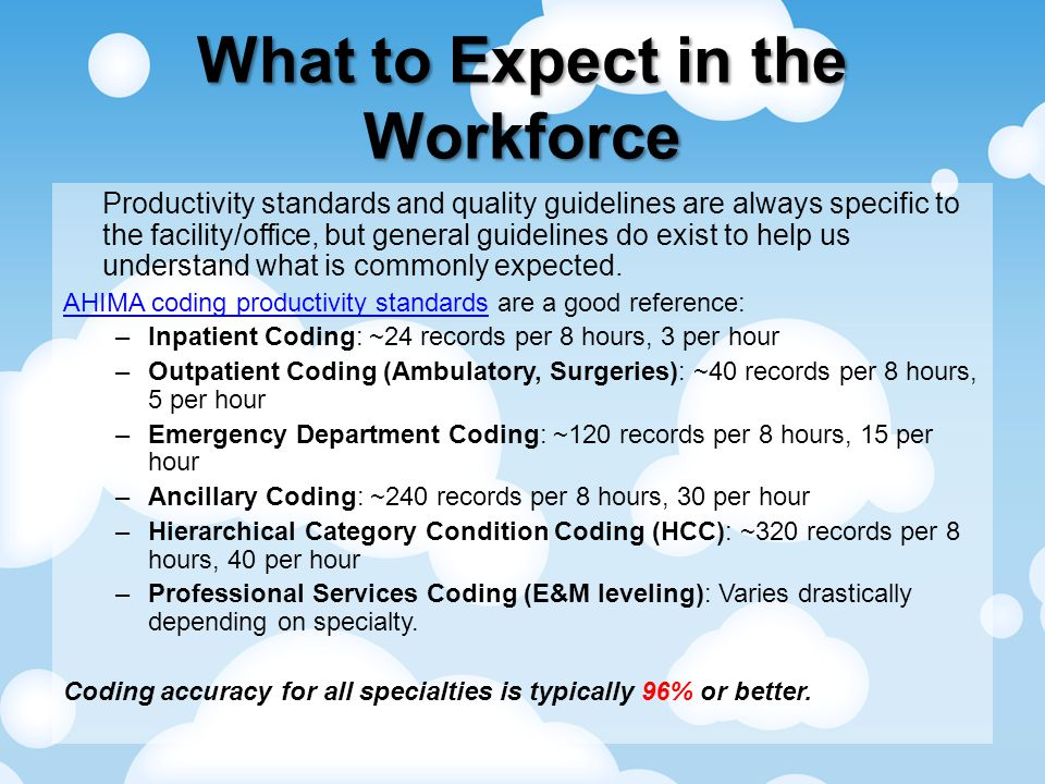 What to Expect in the Workforce Productivity standards and quality guidelines are always specific to the facility/office, but general guidelines do exist to help us understand what is commonly expected.