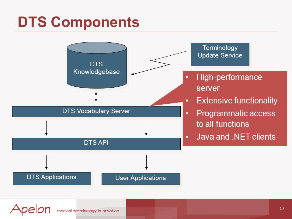 DTS Components 17 DTS Vocabulary Server DTS Applications User Applications DTS Knowledgebase DTS Knowledgebase Terminology Update Service DTS API High-performance server Extensive functionality Programmatic access to all functions Java and.NET clients