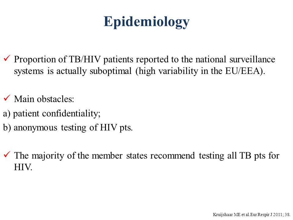 Epidemiology Kruijshaar ME et al.Eur Respir J 2011; 38. Proportion of TB/HIV patients reported to the national surveillance systems is actually subopt
