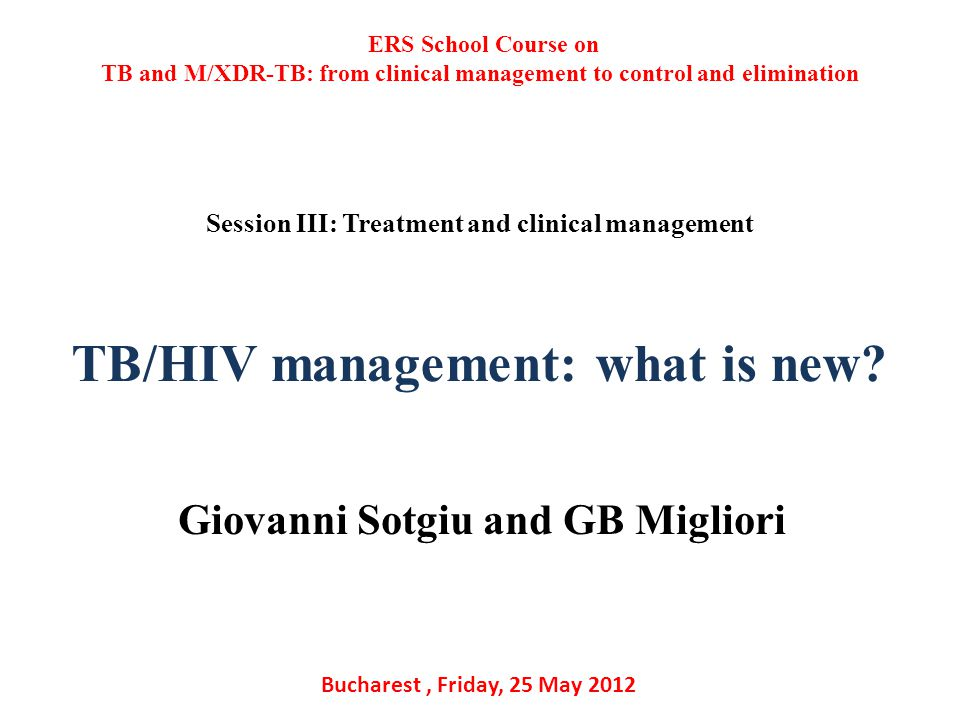 TB/HIV management: what is new.