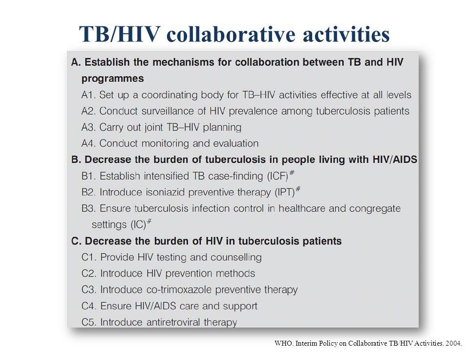 TB/HIV collaborative activities WHO. Interim Policy on Collaborative TB/HIV Activities. 2004.