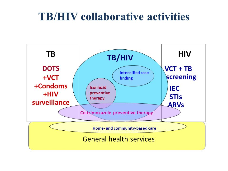 TB/HIV collaborative activities TB DOTS +VCT +Condoms +HIV surveillance HIV VCT + TB screening IEC STIs ARVs General health services Intensified case- finding Isoniazid preventive therapy Co-trimoxazole preventive therapy TB/HIV Home- and community-based care