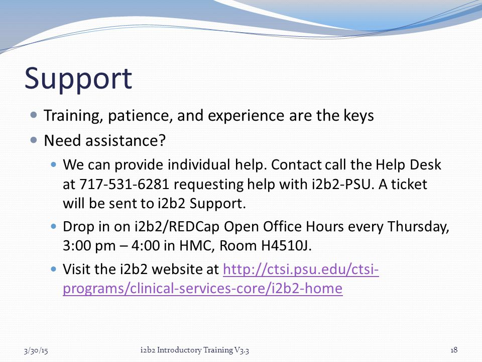 Support Training, patience, and experience are the keys Need assistance.