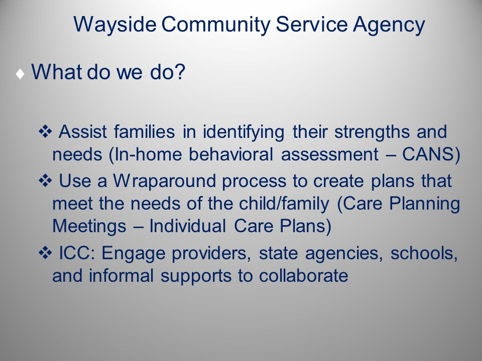 Wayside Community Service Agency  What do we do.