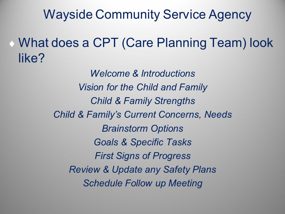 Wayside Community Service Agency  What does a CPT (Care Planning Team) look like? Welcome & Introductions Vision for the Child and Family Child & Fam