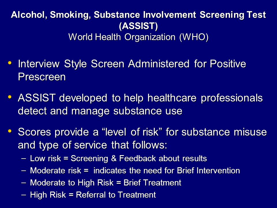 Motivational Interviewing Motivational Interviewing Therapeutic Alliance People who Screen Positive for Substance Misuse People who Screen Positive for Substance Misuse – May be reluctant to seek help – May be ambivalent about decision to change behavior Confrontation & Labeling may Produce Resistance and/or in Denial Confrontation & Labeling may Produce Resistance and/or in Denial Avoiding Labeling & Confrontation Avoiding Labeling & Confrontation Roll with Resistance Roll with Resistance Enhance Self-Efficacy Enhance Self-Efficacy Build Confidence in One's Coping Strategies Build Confidence in One's Coping Strategies