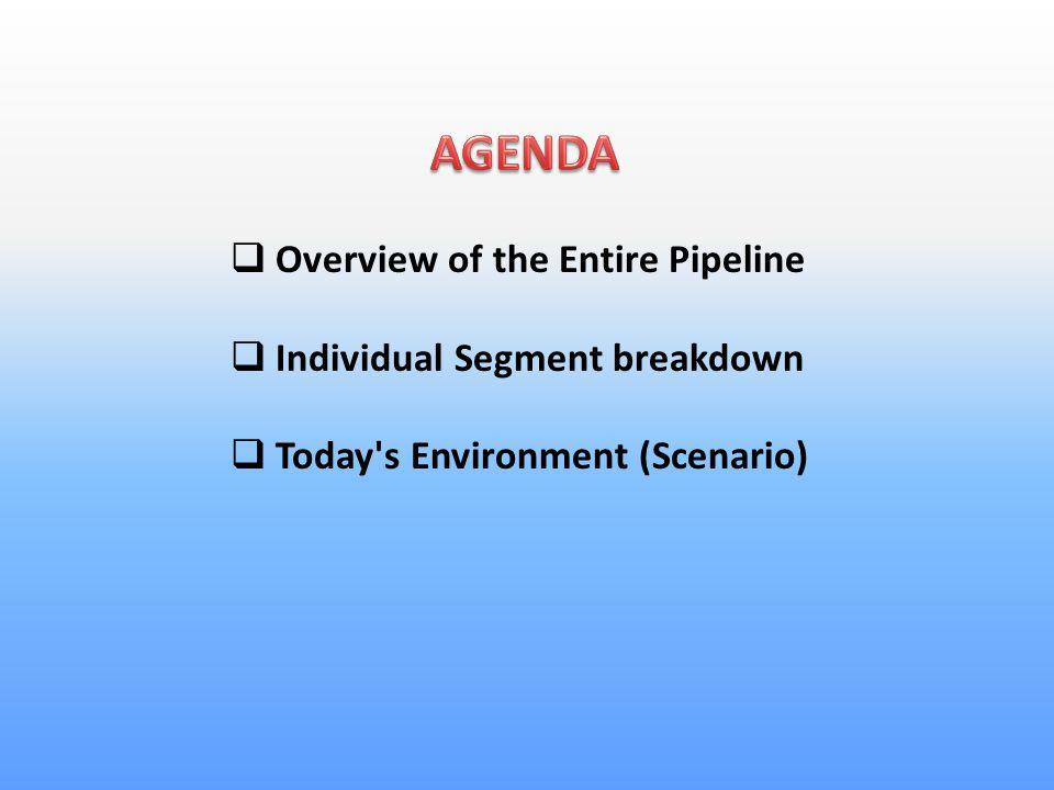  Overview of the Entire Pipeline  Individual Segment breakdown  Today s Environment (Scenario)