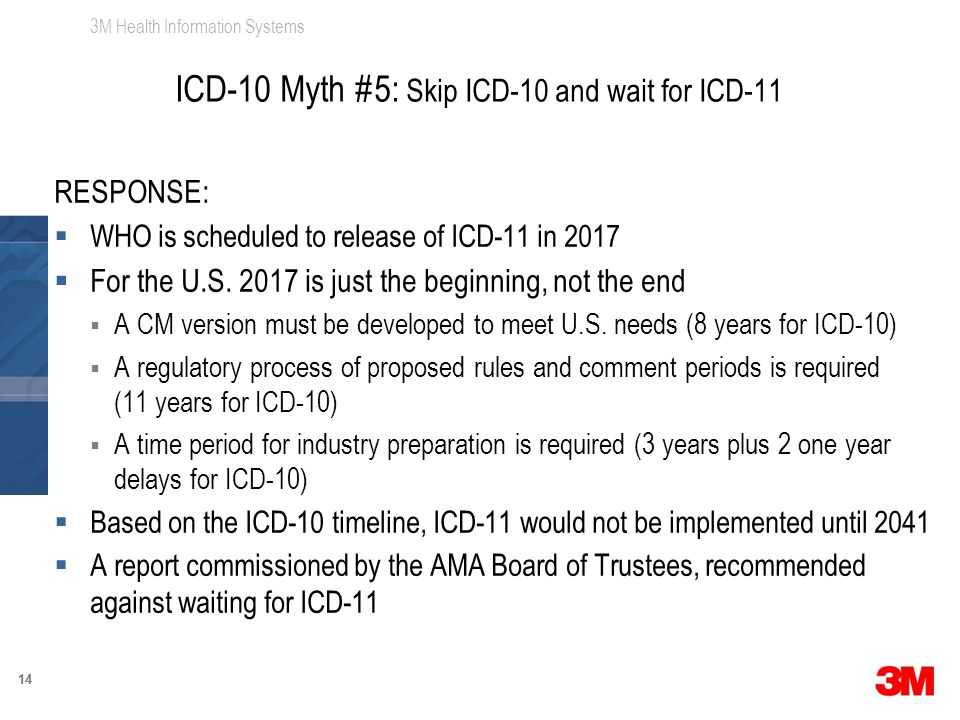 3M Health Information Systems 14 RESPONSE:  WHO is scheduled to release of ICD-11 in 2017  For the U.S. 2017 is just the beginning, not the end  A