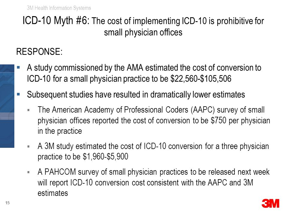 3M Health Information Systems 15 RESPONSE:  A study commissioned by the AMA estimated the cost of conversion to ICD-10 for a small physician practice to be $22,560-$105,506  Subsequent studies have resulted in dramatically lower estimates  The American Academy of Professional Coders (AAPC) survey of small physician offices reported the cost of conversion to be $750 per physician in the practice  A 3M study estimated the cost of ICD-10 conversion for a three physician practice to be $1,960-$5,900  A PAHCOM survey of small physician practices to be released next week will report ICD-10 conversion cost consistent with the AAPC and 3M estimates ICD-10 Myth #6: The cost of implementing ICD-10 is prohibitive for small physician offices