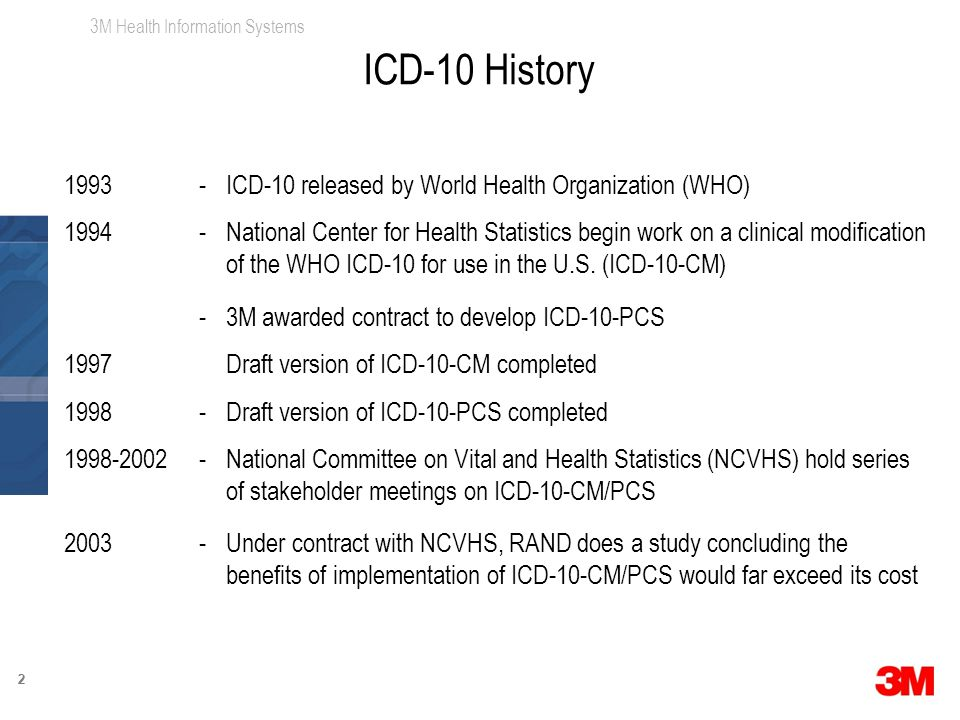3M Health Information Systems 22 1993-ICD-10 released by World Health Organization (WHO) 1994-National Center for Health Statistics begin work on a clinical modification of the WHO ICD-10 for use in the U.S.