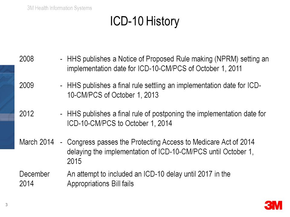 3M Health Information Systems 33 2008-HHS publishes a Notice of Proposed Rule making (NPRM) setting an implementation date for ICD-10-CM/PCS of October 1, 2011 2009-HHS publishes a final rule settling an implementation date for ICD- 10-CM/PCS of October 1, 2013 2012-HHS publishes a final rule of postponing the implementation date for ICD-10-CM/PCS to October 1, 2014 March 2014-Congress passes the Protecting Access to Medicare Act of 2014 delaying the implementation of ICD-10-CM/PCS until October 1, 2015 December 2014 An attempt to included an ICD-10 delay until 2017 in the Appropriations Bill fails ICD-10 History