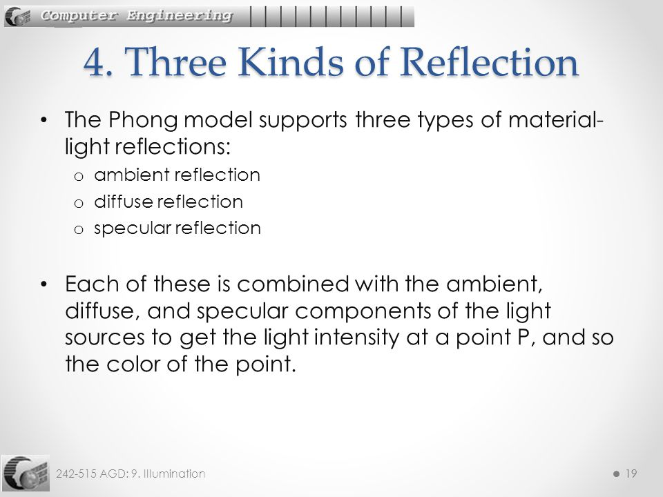 242-515 AGD: 9. Illumination19 The Phong model supports three types of material- light reflections: o ambient reflection o diffuse reflection o specul