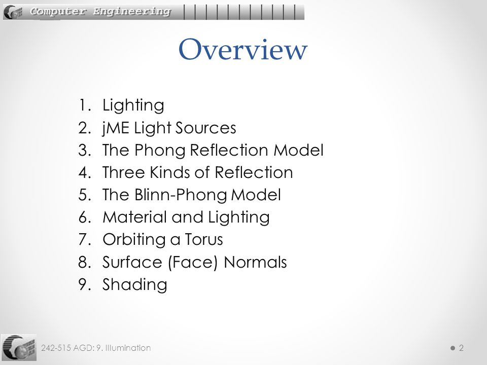 242-515 AGD: 9. Illumination22 1.Lighting 2.jME Light Sources 3.The Phong Reflection Model 4.Three Kinds of Reflection 5.The Blinn-Phong Model 6.Mater