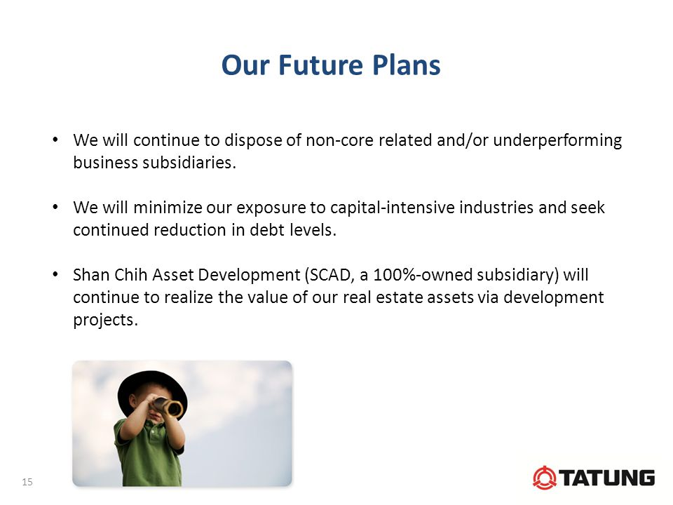 Our Future Plans We will continue to dispose of non-core related and/or underperforming business subsidiaries.