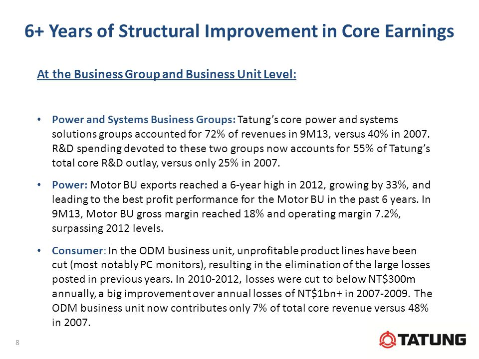 6+ Years of Structural Improvement in Core Earnings At the Business Group and Business Unit Level: Power and Systems Business Groups: Tatung's core power and systems solutions groups accounted for 72% of revenues in 9M13, versus 40% in 2007.