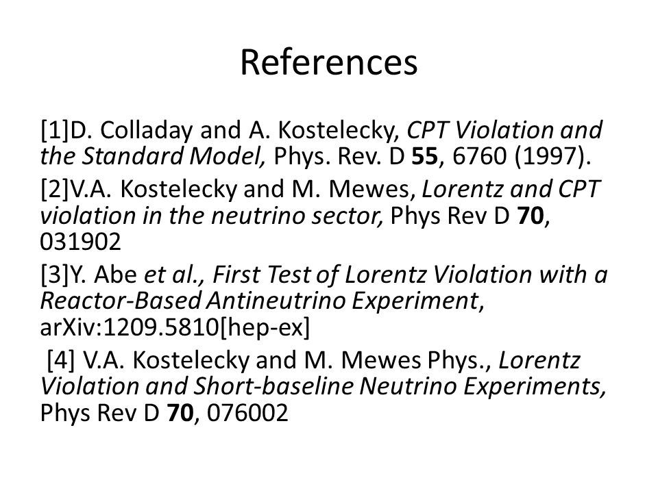 References [1]D. Colladay and A. Kostelecky, CPT Violation and the Standard Model, Phys.