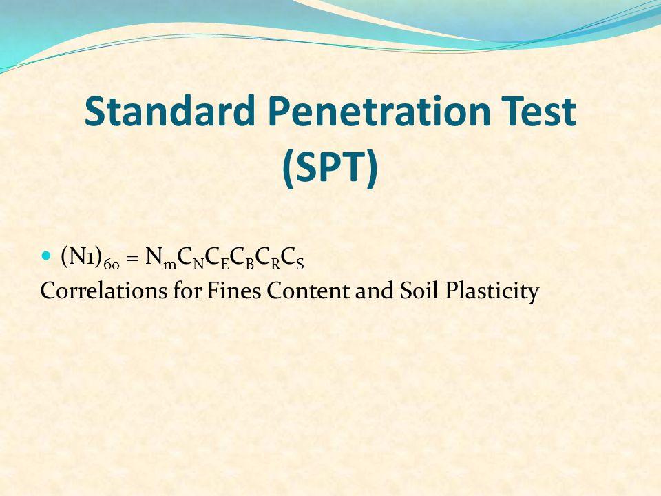 Method for Evaluating CRR 1. Cone penetration test (CPT) 2. Standard penetration test (SPT) 3. Shear-wave velocity measurements (Vs ) 4. Becker penetr