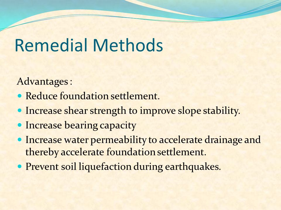 """Remedial Methods Deep Soil Mixing Compaction Grouting Dynamic Compaction Vibrocompaction Vertical Drains """"Wick Drain"""" Stone Columns"""