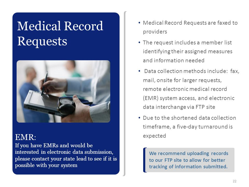 Medical Record Requests are faxed to providers The request includes a member list identifying their assigned measures and information needed Data coll