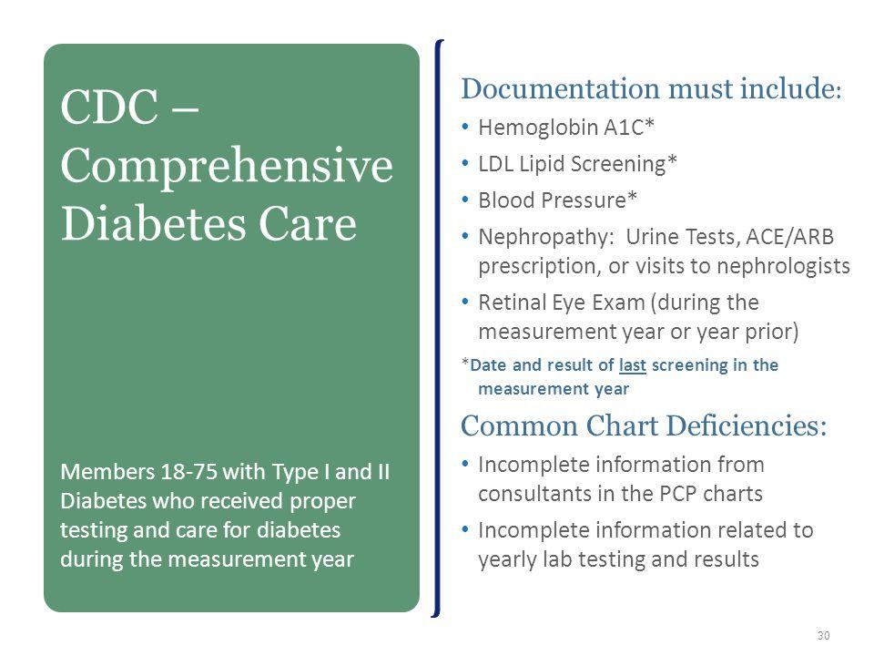 Documentation must include : Hemoglobin A1C* LDL Lipid Screening* Blood Pressure* Nephropathy: Urine Tests, ACE/ARB prescription, or visits to nephrol