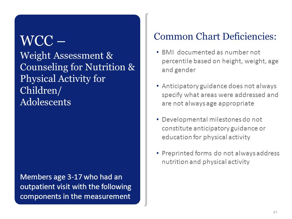 Common Chart Deficiencies: BMI documented as number not percentile based on height, weight, age and gender Anticipatory guidance does not always speci
