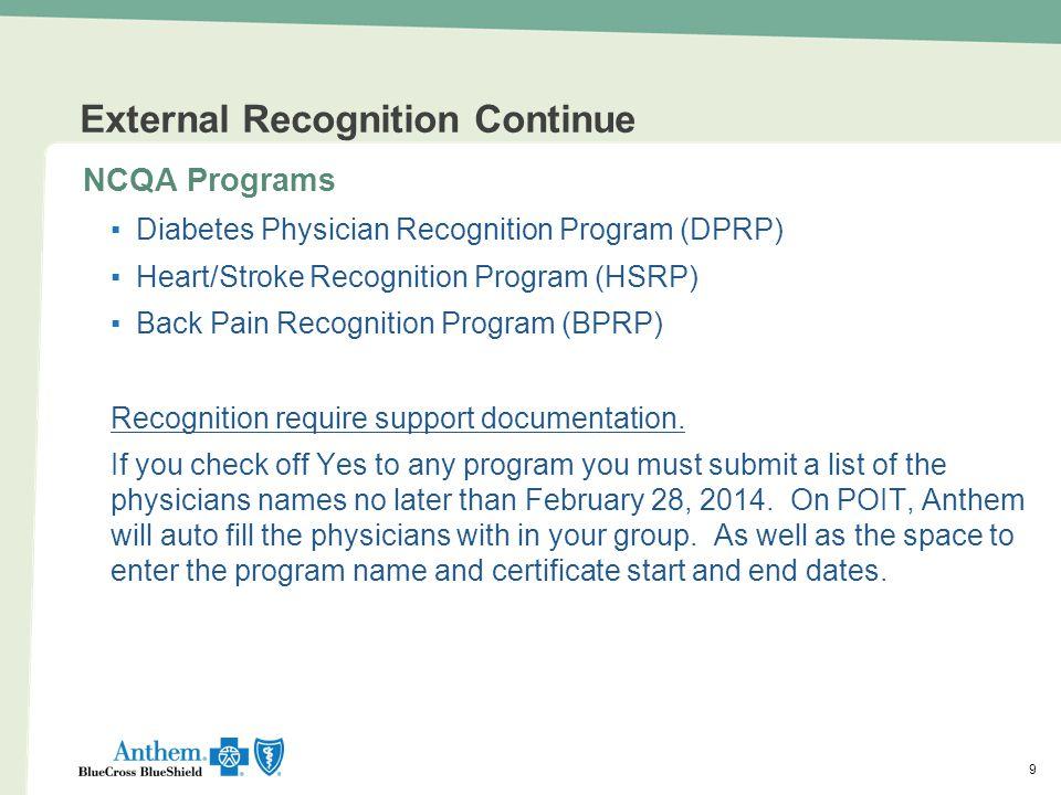 99 External Recognition Continue NCQA Programs ▪Diabetes Physician Recognition Program (DPRP) ▪Heart/Stroke Recognition Program (HSRP) ▪Back Pain Reco
