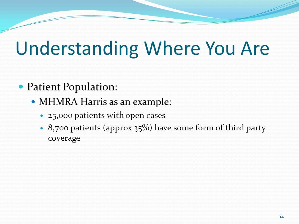 Understanding Where You Are Patient Population: MHMRA Harris as an example: 25,000 patients with open cases 8,700 patients (approx 35%) have some form