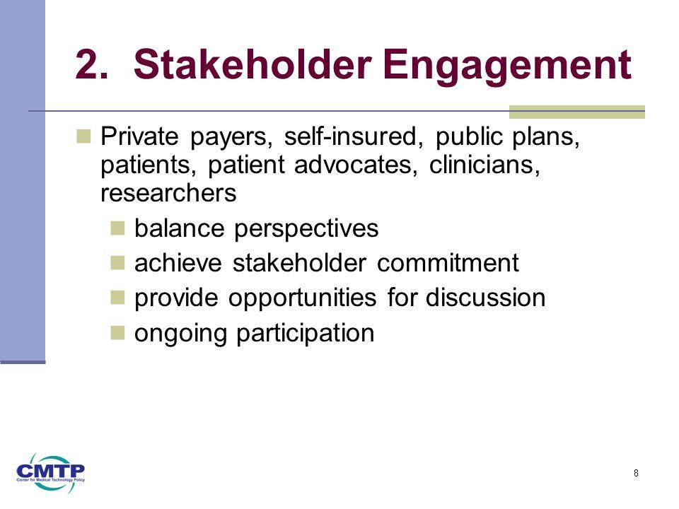2. Stakeholder Engagement Private payers, self-insured, public plans, patients, patient advocates, clinicians, researchers balance perspectives achiev