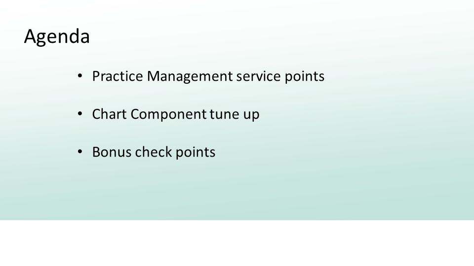 Agenda Practice Management service points Chart Component tune up Bonus check points