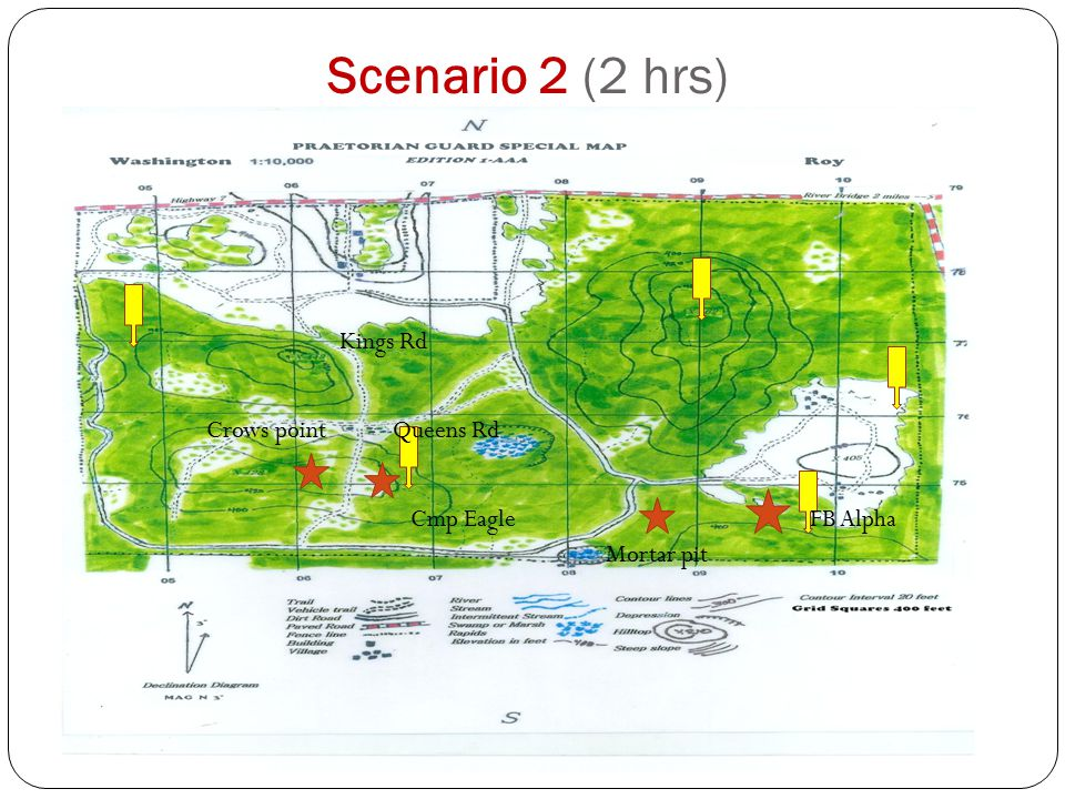 Scenario 2 (2 hrs) Kings Rd Queens Rd FB Alpha Mortar pit Cmp Eagle Crows point