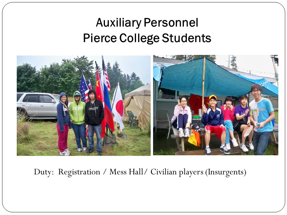 Auxiliary Personnel Pierce College Students Duty: Registration / Mess Hall/ Civilian players (Insurgents)