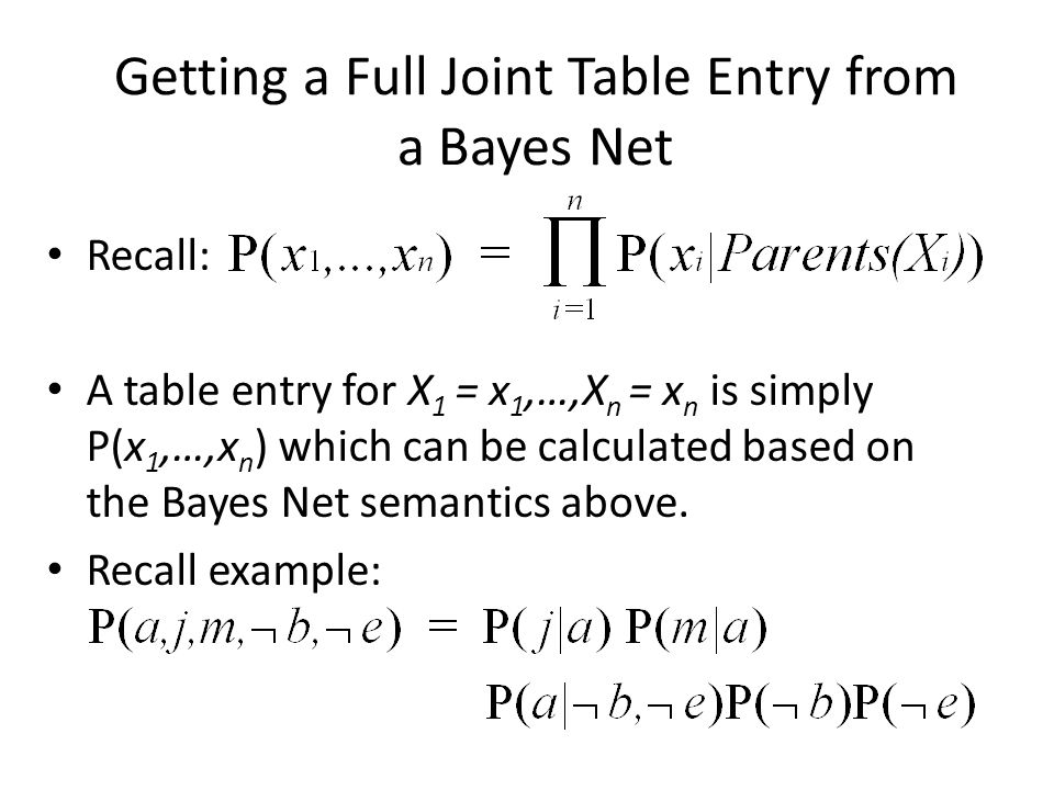 Getting a Full Joint Table Entry from a Bayes Net Recall: A table entry for X 1 = x 1,…,X n = x n is simply P(x 1,…,x n ) which can be calculated based on the Bayes Net semantics above.
