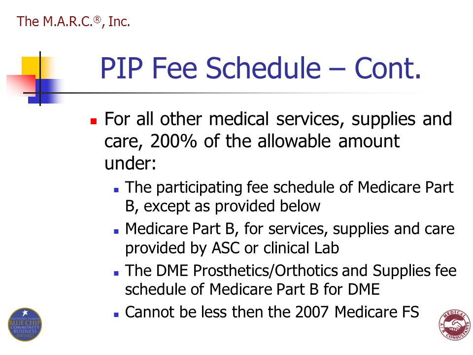 PIP Fee Schedule – Cont. For all other medical services, supplies and care, 200% of the allowable amount under: The participating fee schedule of Medi