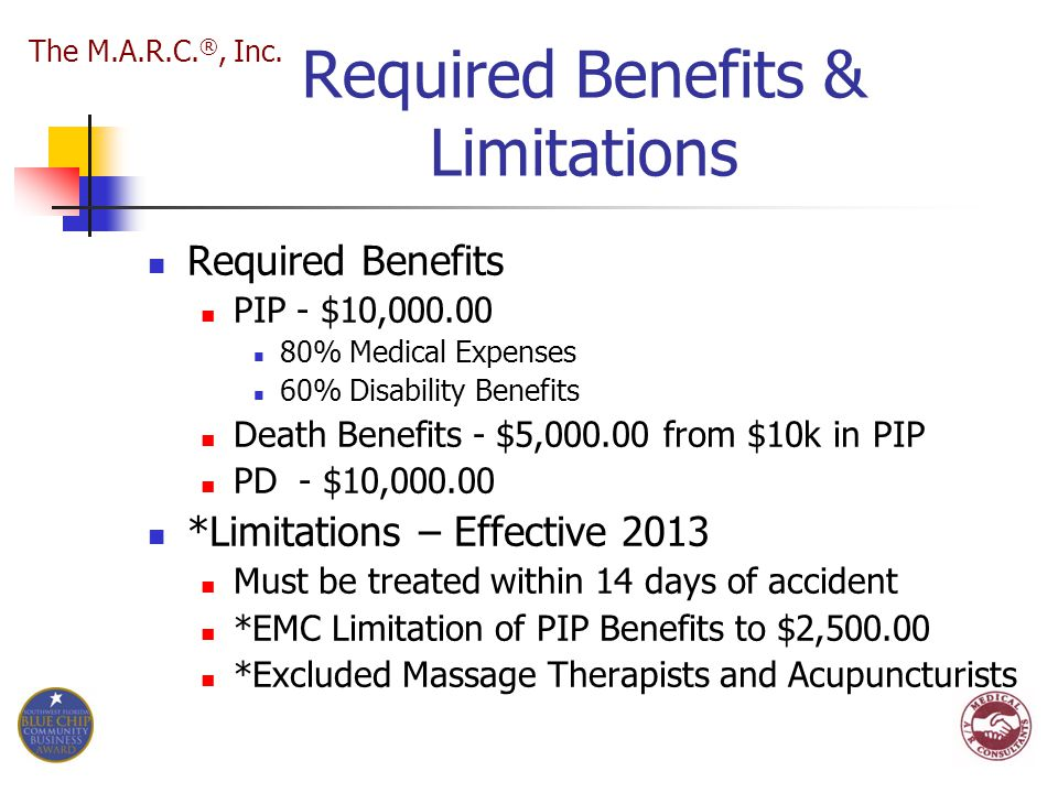 Required Benefits & Limitations Required Benefits PIP - $10,000.00 80% Medical Expenses 60% Disability Benefits Death Benefits - $5,000.00 from $10k i