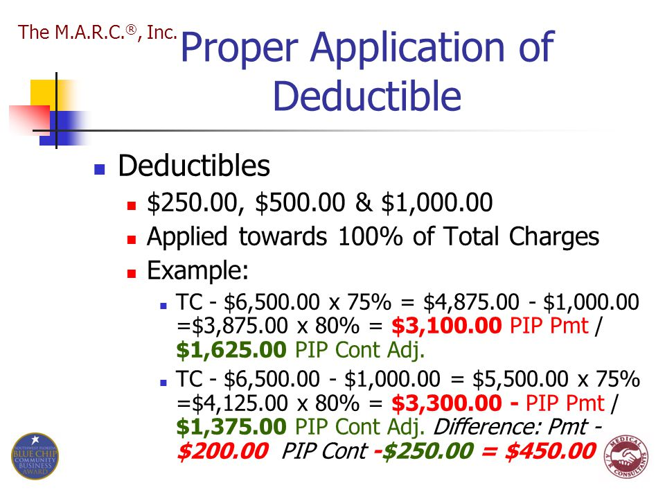 Proper Application of Deductible Deductibles $250.00, $500.00 & $1,000.00 Applied towards 100% of Total Charges Example: TC - $6,500.00 x 75% = $4,875