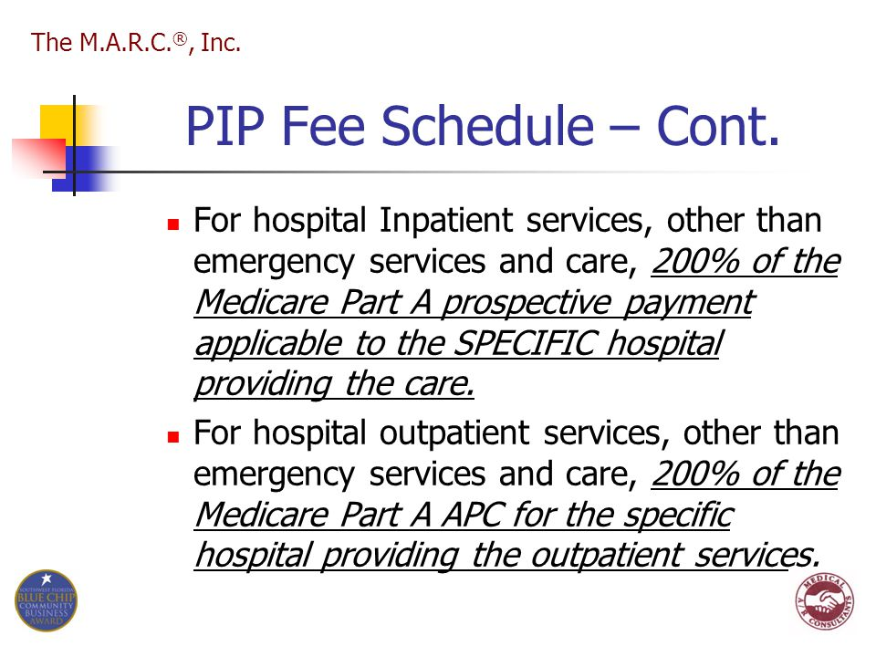 PIP Fee Schedule – Cont. For hospital Inpatient services, other than emergency services and care, 200% of the Medicare Part A prospective payment appl