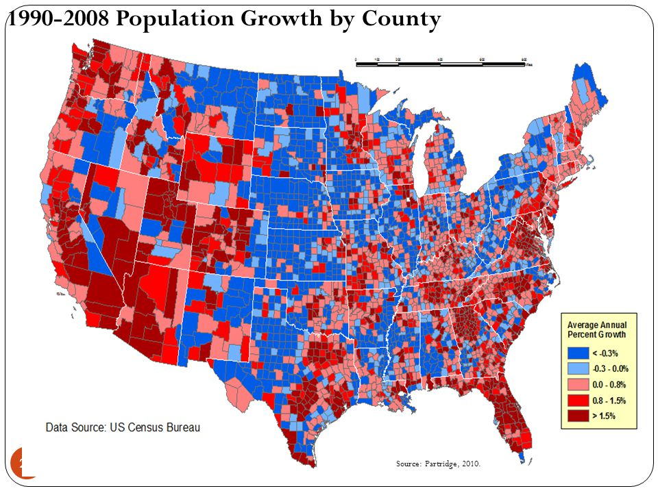 29 1990-2008 Population Growth by County Source: Partridge, 2010.